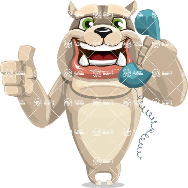 Cute English Bulldog Cartoon Vector Character AKA Rocky the Bulldog - Support