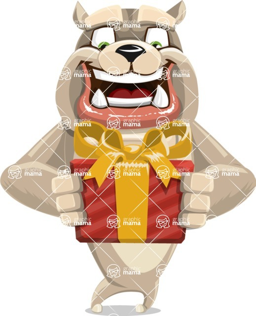 Cute English Bulldog Cartoon Vector Character AKA Rocky the Bulldog - Gift