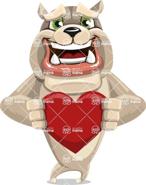 Cute English Bulldog Cartoon Vector Character AKA Rocky the Bulldog - Love