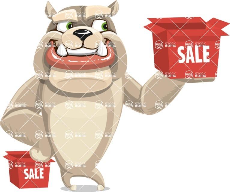 Cute English Bulldog Cartoon Vector Character AKA Rocky the Bulldog - Sale