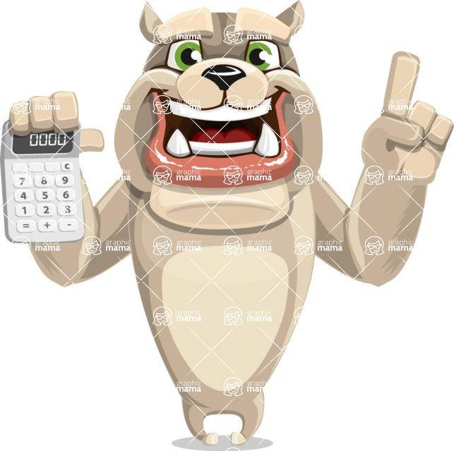 Cute English Bulldog Cartoon Vector Character AKA Rocky the Bulldog - Calculator