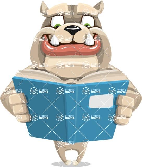 Cute English Bulldog Cartoon Vector Character AKA Rocky the Bulldog - Book 1