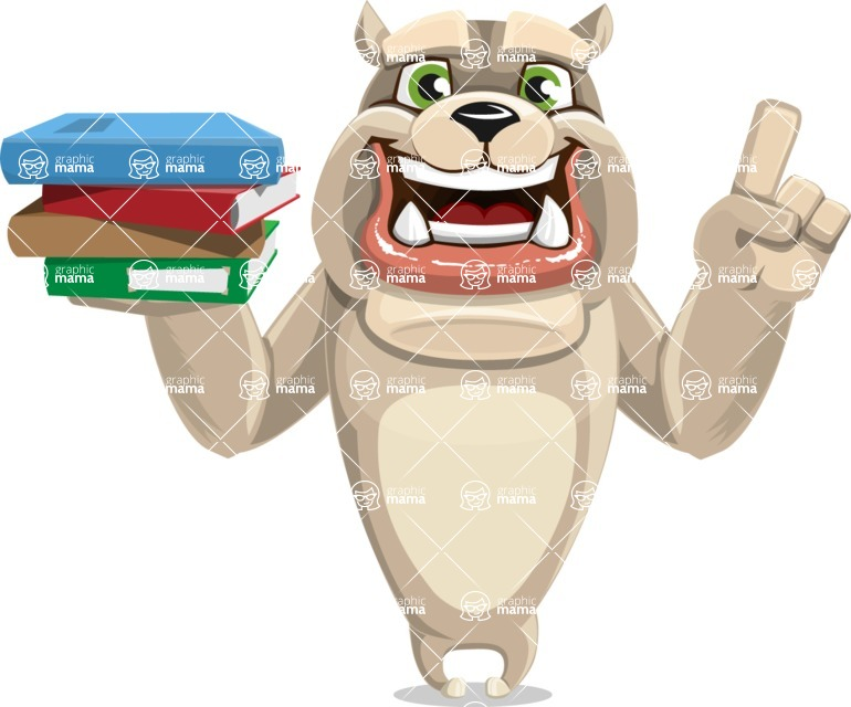 Cute English Bulldog Cartoon Vector Character AKA Rocky the Bulldog - Book 2