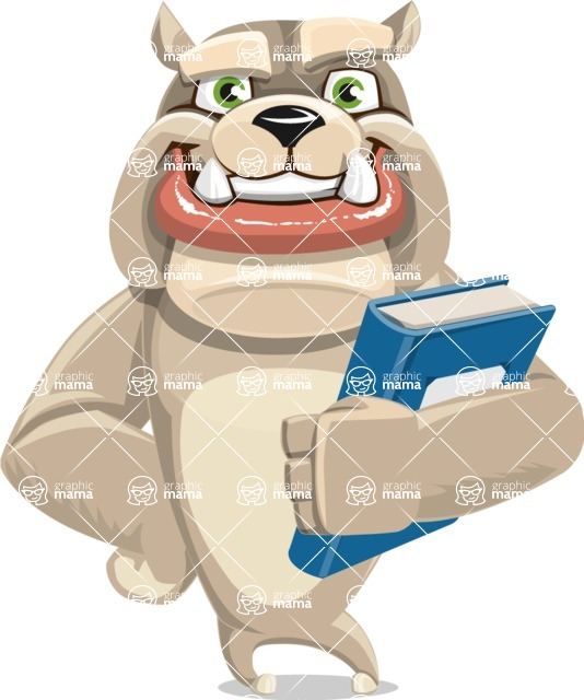 Cute English Bulldog Cartoon Vector Character AKA Rocky the Bulldog - Book 3