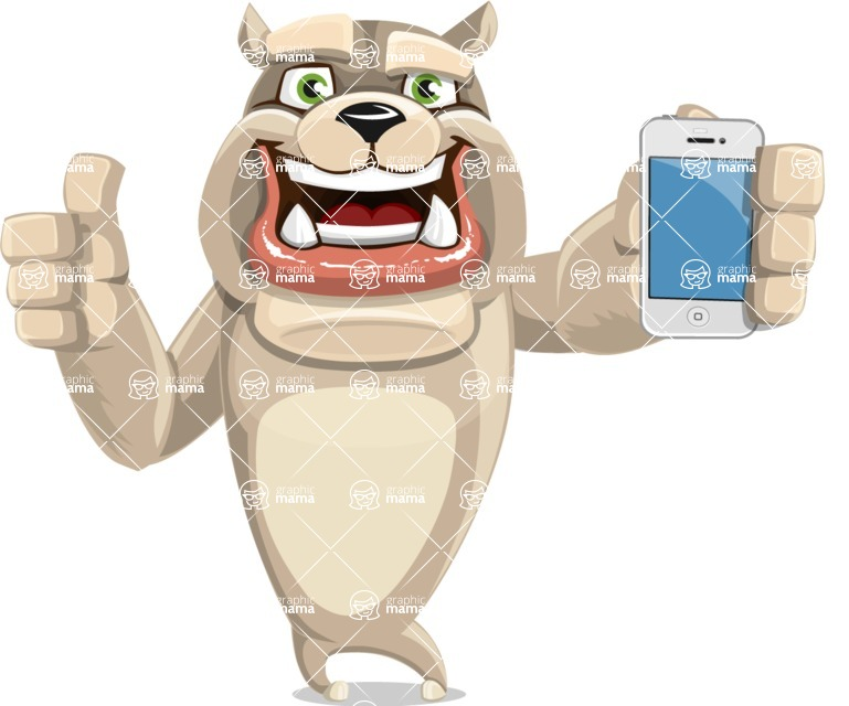 Cute English Bulldog Cartoon Vector Character AKA Rocky the Bulldog - iPhone