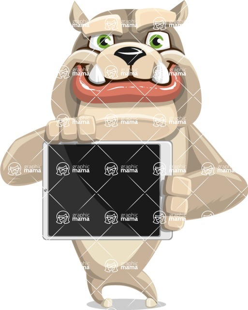 Cute English Bulldog Cartoon Vector Character AKA Rocky the Bulldog - iPad 2