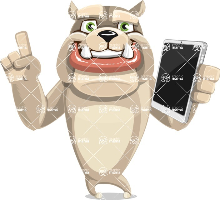 Cute English Bulldog Cartoon Vector Character AKA Rocky the Bulldog - iPad 3