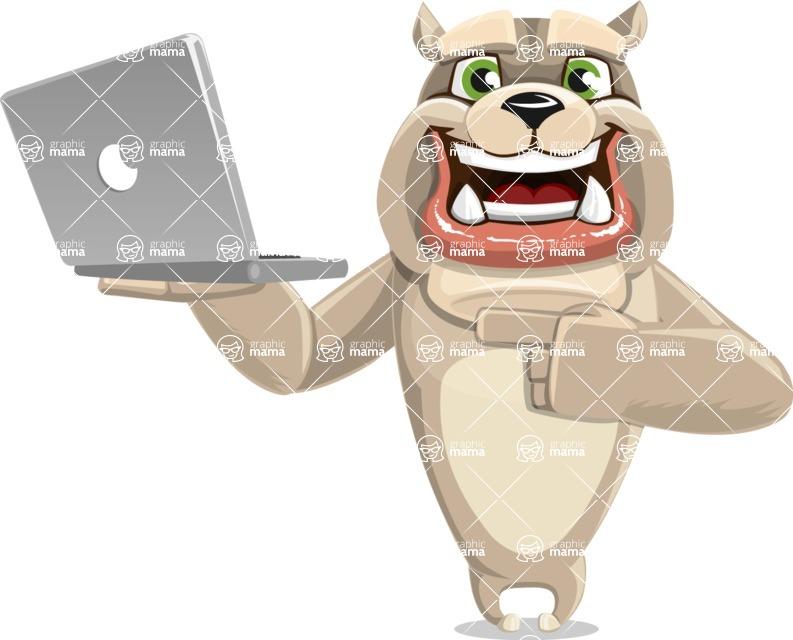 Cute English Bulldog Cartoon Vector Character AKA Rocky the Bulldog - Laptop 1