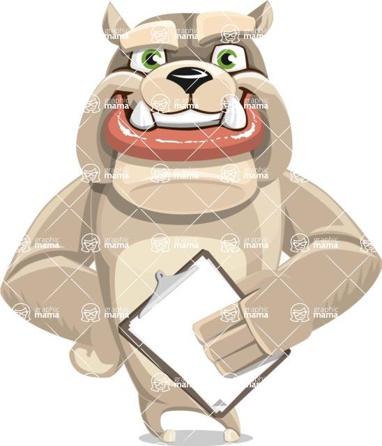 Cute English Bulldog Cartoon Vector Character AKA Rocky the Bulldog - Notepad 4