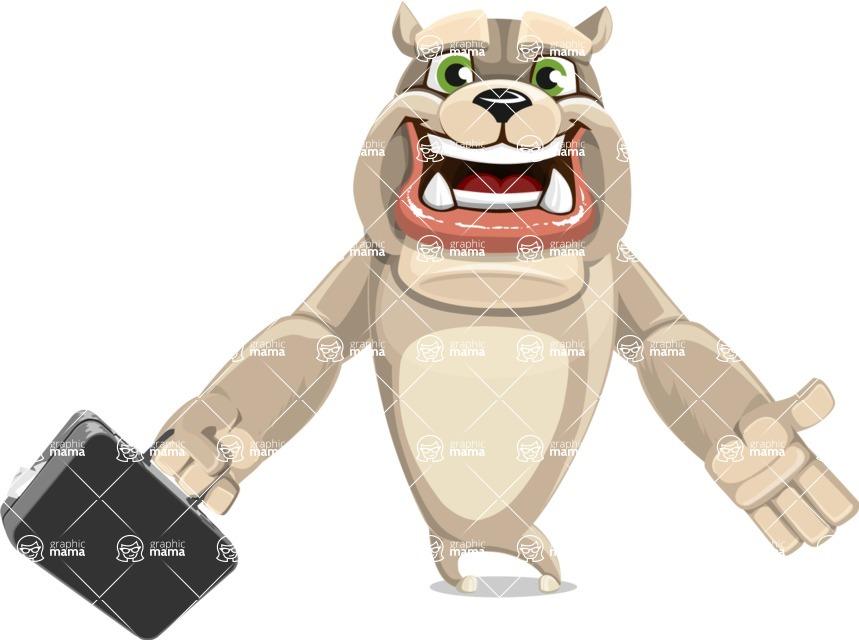 Cute English Bulldog Cartoon Vector Character AKA Rocky the Bulldog - Briefcase 1