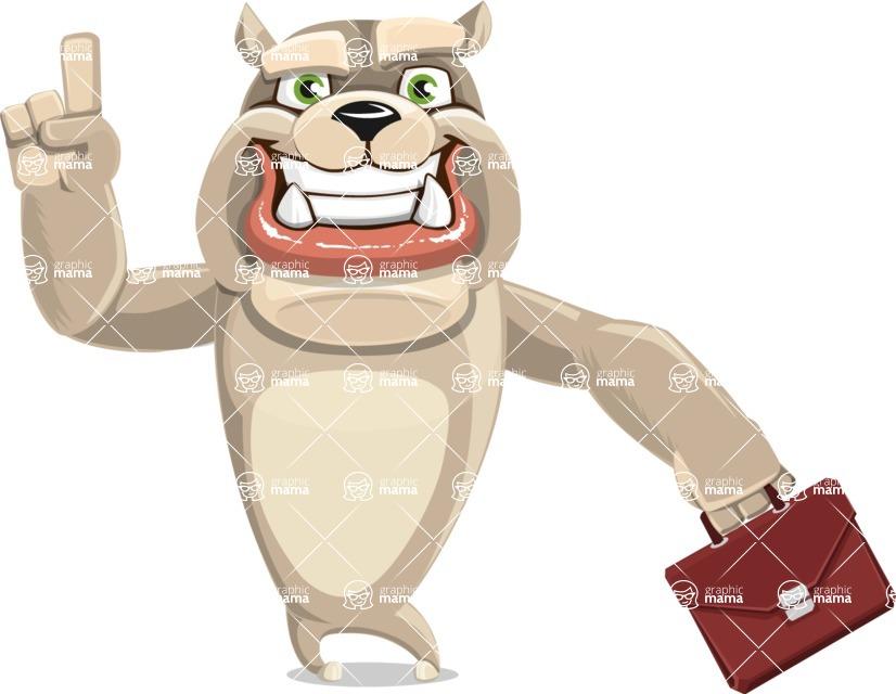 Cute English Bulldog Cartoon Vector Character AKA Rocky the Bulldog - Briefcase 2