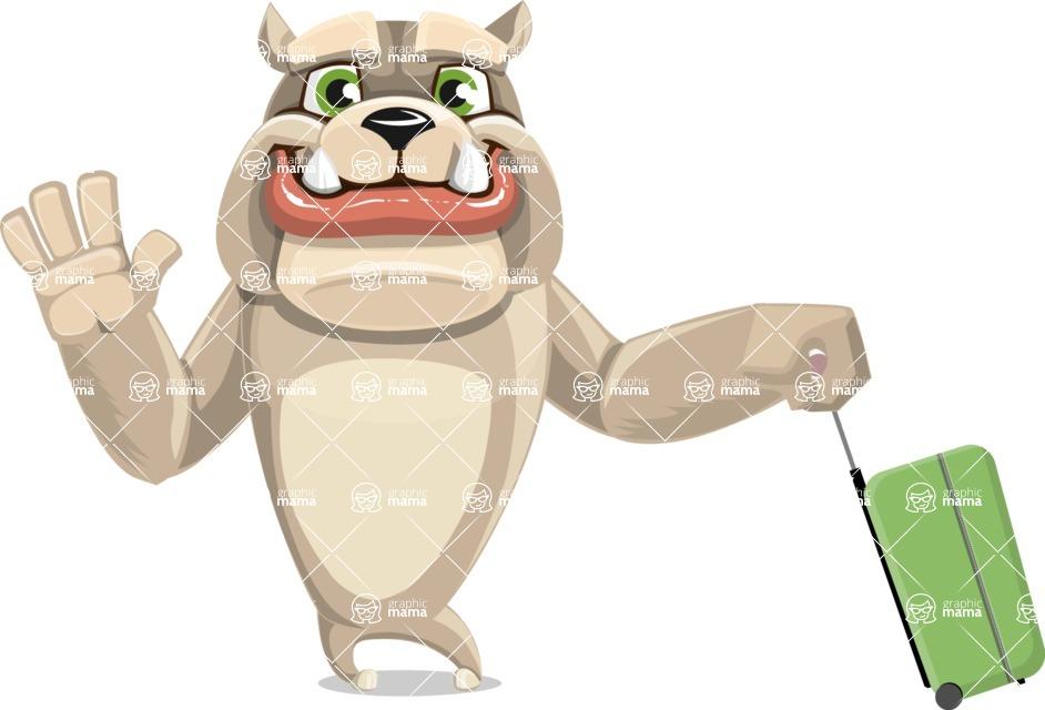 Cute English Bulldog Cartoon Vector Character AKA Rocky the Bulldog - Travel 1