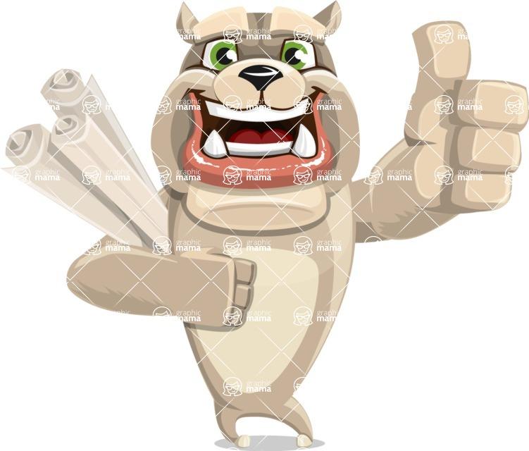 Cute English Bulldog Cartoon Vector Character AKA Rocky the Bulldog - Plans