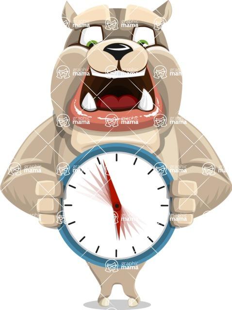 Cute English Bulldog Cartoon Vector Character AKA Rocky the Bulldog - Time is Yours