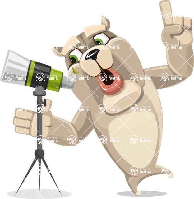 Cute English Bulldog Cartoon Vector Character AKA Rocky the Bulldog - Telescope