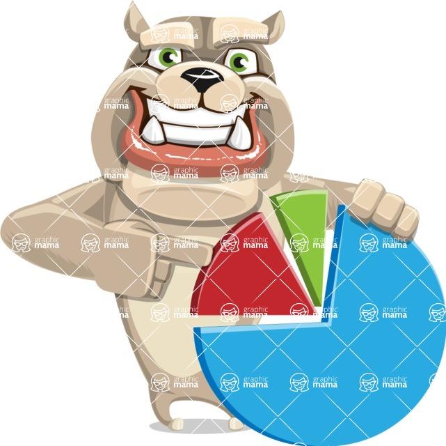Cute English Bulldog Cartoon Vector Character AKA Rocky the Bulldog - Chart