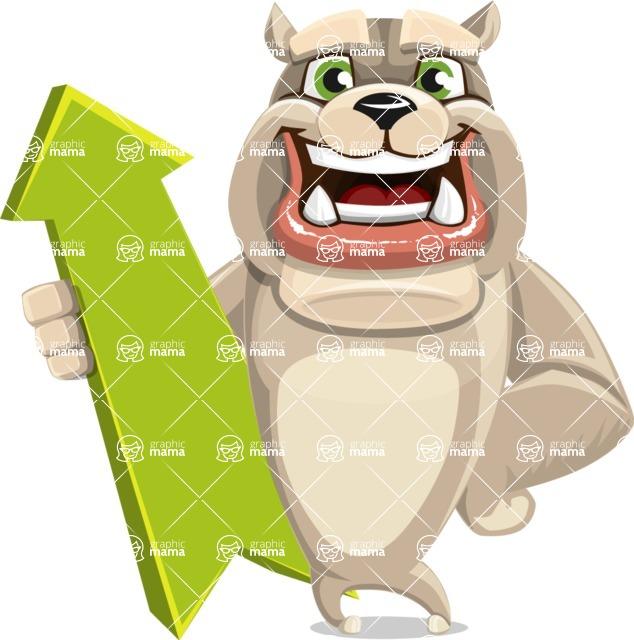 Cute English Bulldog Cartoon Vector Character AKA Rocky the Bulldog - Pointer 1