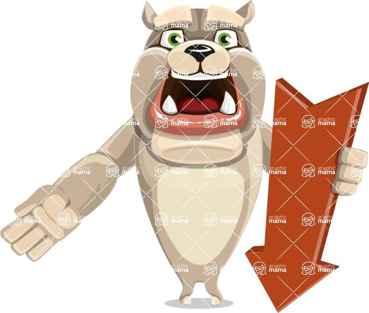 Cute English Bulldog Cartoon Vector Character AKA Rocky the Bulldog - Pointer 3