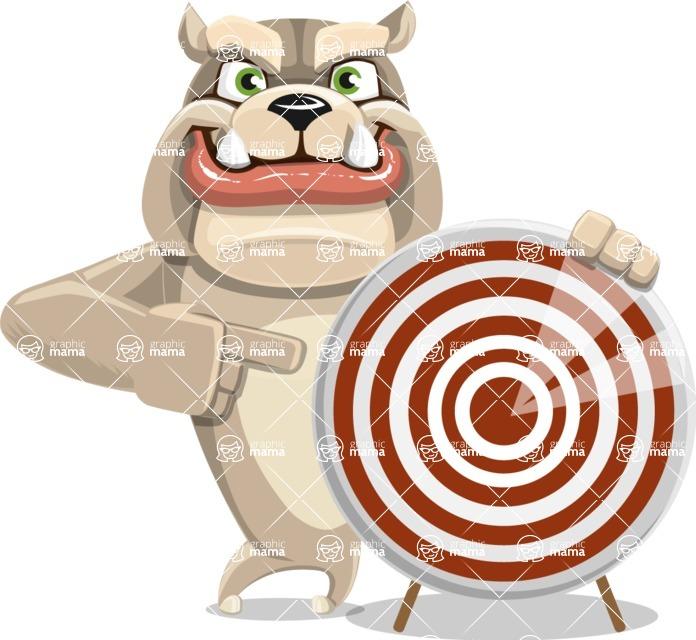 Cute English Bulldog Cartoon Vector Character AKA Rocky the Bulldog - Target