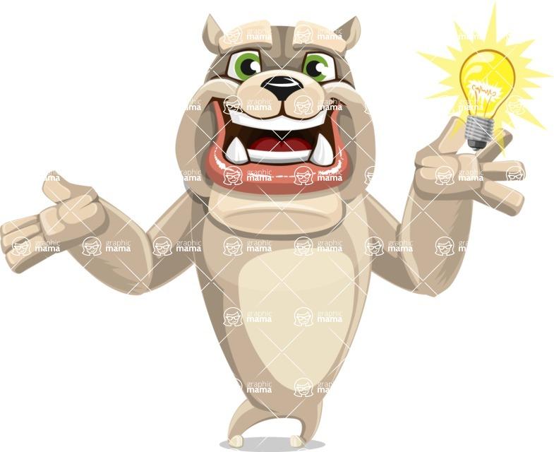 Cute English Bulldog Cartoon Vector Character AKA Rocky the Bulldog - Idea 1