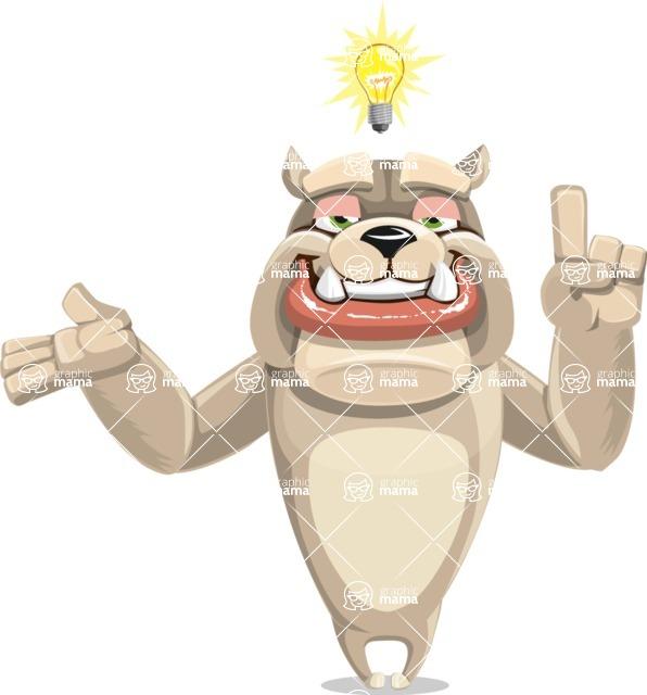 Cute English Bulldog Cartoon Vector Character AKA Rocky the Bulldog - Idea 2