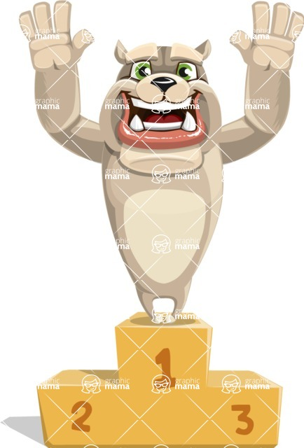 Cute English Bulldog Cartoon Vector Character AKA Rocky the Bulldog - On Top