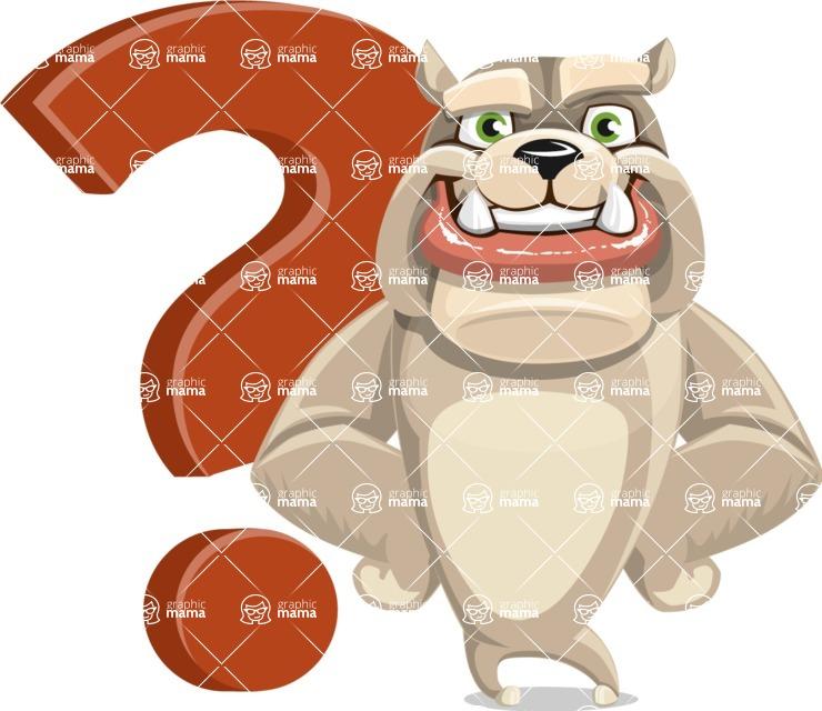 Cute English Bulldog Cartoon Vector Character AKA Rocky the Bulldog - Question