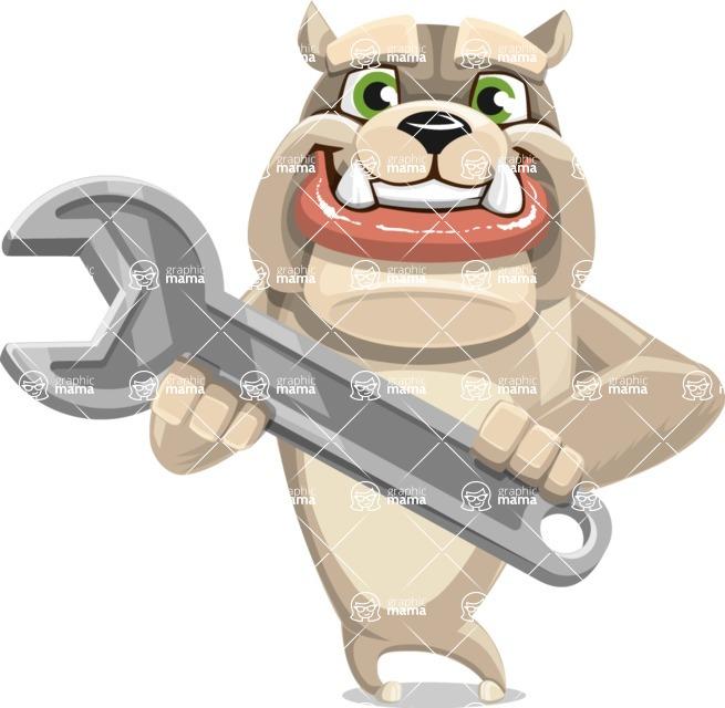 Cute English Bulldog Cartoon Vector Character AKA Rocky the Bulldog - Repair