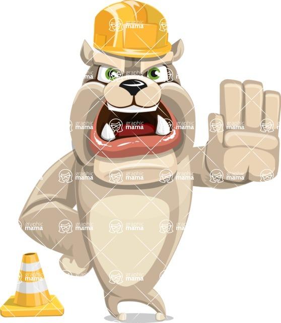 Cute English Bulldog Cartoon Vector Character AKA Rocky the Bulldog - Under Construction 1