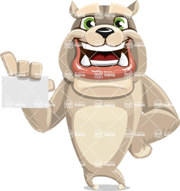 Cute English Bulldog Cartoon Vector Character AKA Rocky the Bulldog - Sign 1