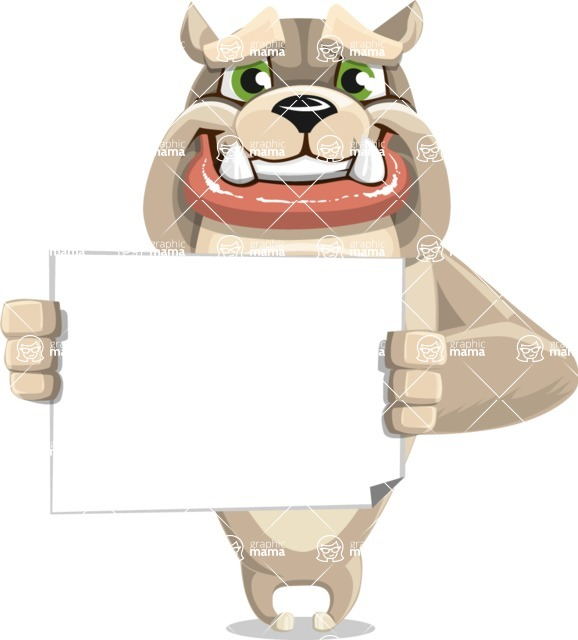 Cute English Bulldog Cartoon Vector Character AKA Rocky the Bulldog - Sign 3