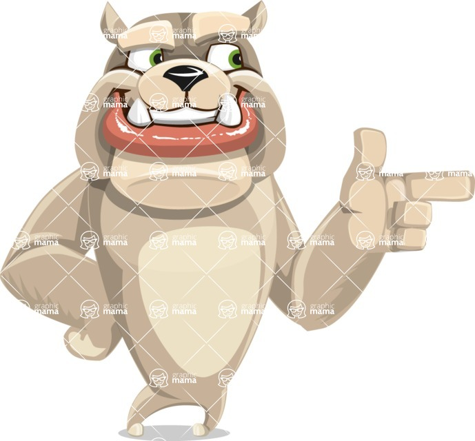 Cute English Bulldog Cartoon Vector Character AKA Rocky the Bulldog - Point