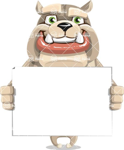 Cute English Bulldog Cartoon Vector Character AKA Rocky the Bulldog - Sign 5