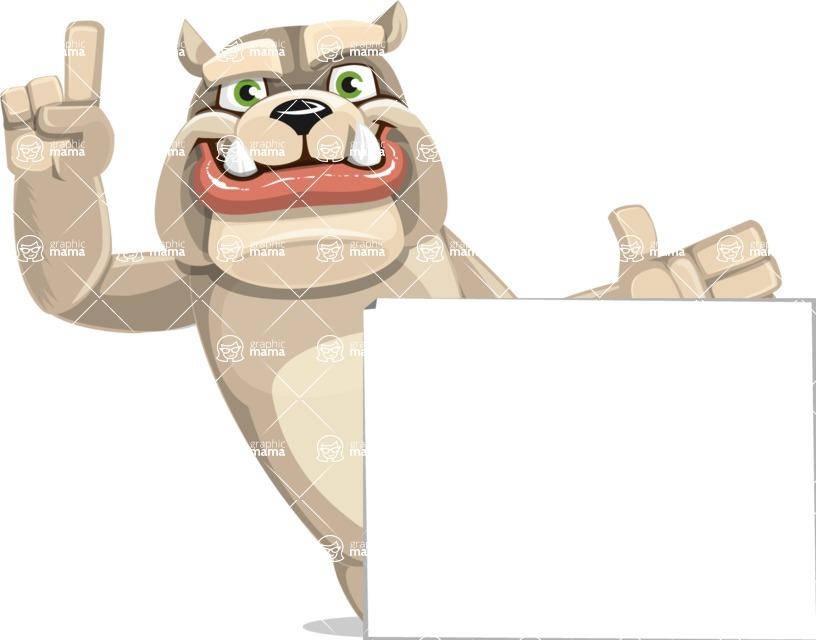Cute English Bulldog Cartoon Vector Character AKA Rocky the Bulldog - Sign 7