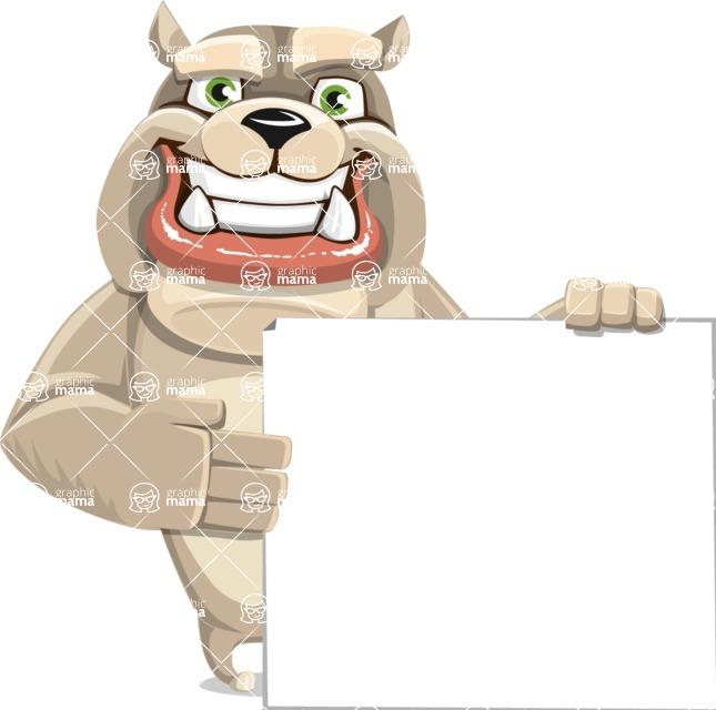 Cute English Bulldog Cartoon Vector Character AKA Rocky the Bulldog - Sign 8