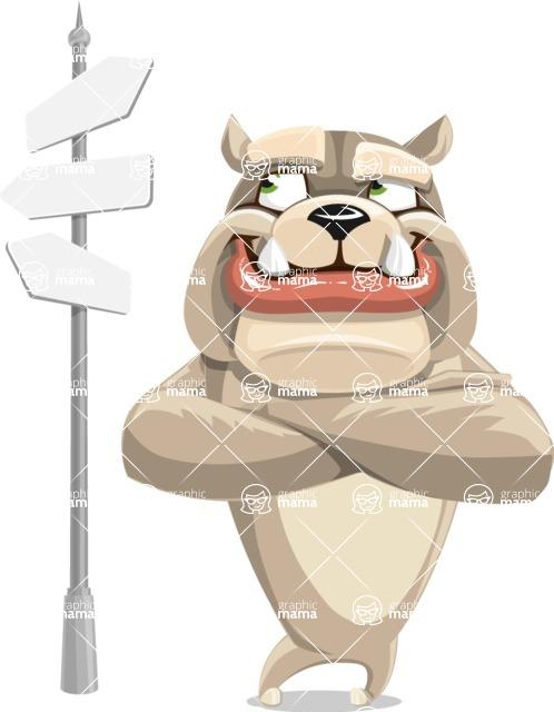 Cute English Bulldog Cartoon Vector Character AKA Rocky the Bulldog - Crossroad