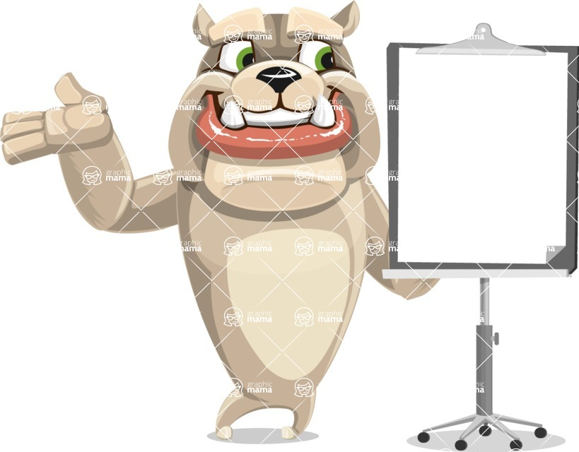 Cute English Bulldog Cartoon Vector Character AKA Rocky the Bulldog - Presentation 1