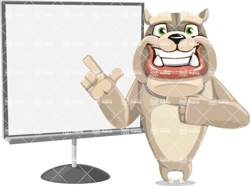 Cute English Bulldog Cartoon Vector Character AKA Rocky the Bulldog - Presentation 2
