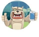 Cute English Bulldog Cartoon Vector Character AKA Rocky the Bulldog - Shape 2