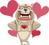 Cute English Bulldog Cartoon Vector Character AKA Rocky the Bulldog - Shape 5
