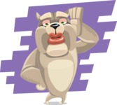 Cute English Bulldog Cartoon Vector Character AKA Rocky the Bulldog - Shape 9
