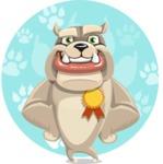 Cute English Bulldog Cartoon Vector Character AKA Rocky the Bulldog - Shape 11