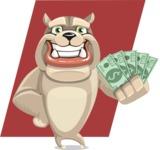Cute English Bulldog Cartoon Vector Character AKA Rocky the Bulldog - Shape 12