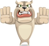 Cute English Bulldog Cartoon Vector Character AKA Rocky the Bulldog - Stop