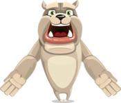 Cute English Bulldog Cartoon Vector Character AKA Rocky the Bulldog - Stunned