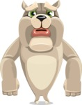 Cute English Bulldog Cartoon Vector Character AKA Rocky the Bulldog - Sad