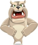 Cute English Bulldog Cartoon Vector Character AKA Rocky the Bulldog - Angry