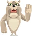Cute English Bulldog Cartoon Vector Character AKA Rocky the Bulldog - Goodbye