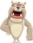 Cute English Bulldog Cartoon Vector Character AKA Rocky the Bulldog - Bored