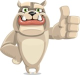 Cute English Bulldog Cartoon Vector Character AKA Rocky the Bulldog - Thumbs Up